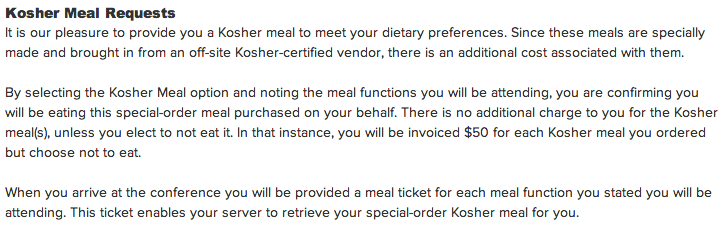 Kosher Meal Requests