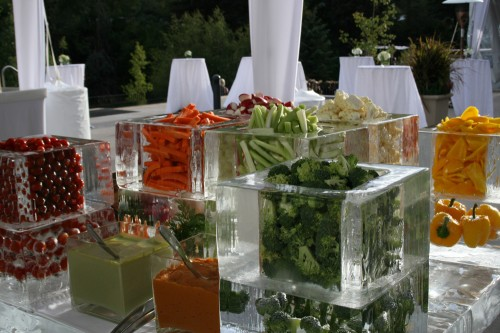 Vegetable ice display done for a wedding in Vail, CO