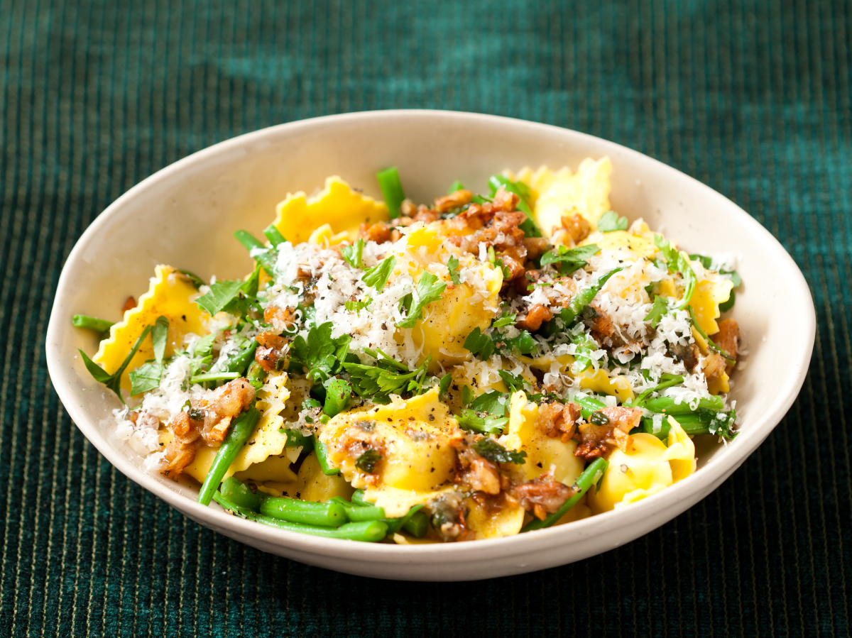 Ravioli with Green Beans and Brown Butter Sauce recipe from Kitchen Daily