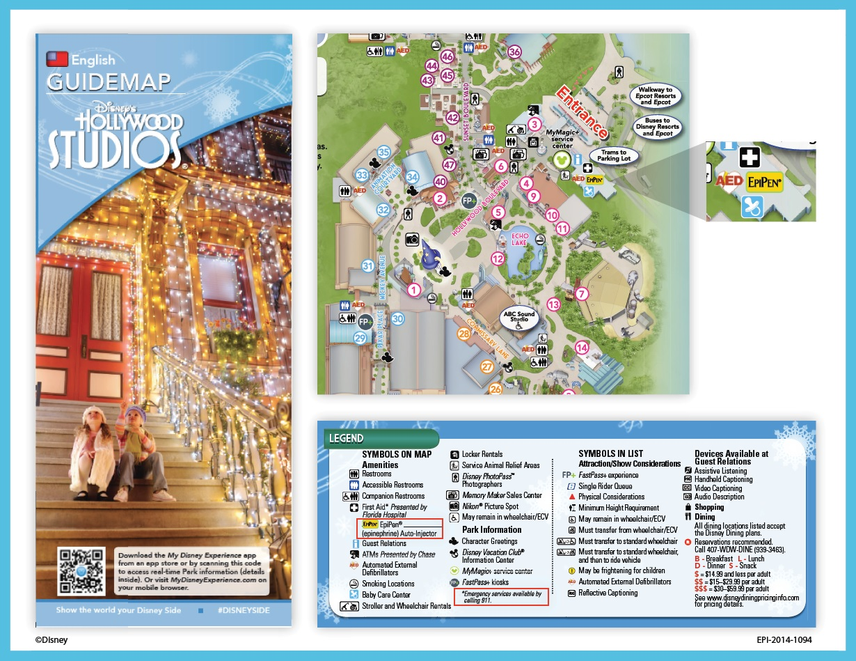 Disney Map Showing where Epinephrine is found within the parks