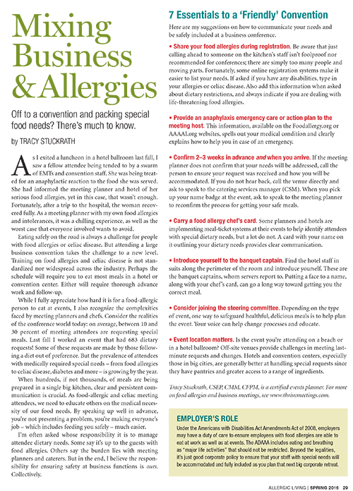 Allergic Living Spring 2016 p29 US Business Trip