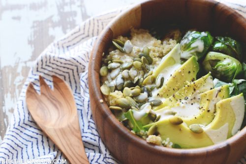 Use these 12 vegan lunch ideas for meetings to liven up your menus avocado quinoa harvest bowl from in it for the long run vegan lunch ideas for forumfinder Images