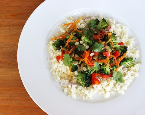 "Cauliflower ""Rice"" Stir-Fry from PopSugar | vegan lunch ideas for meetings"
