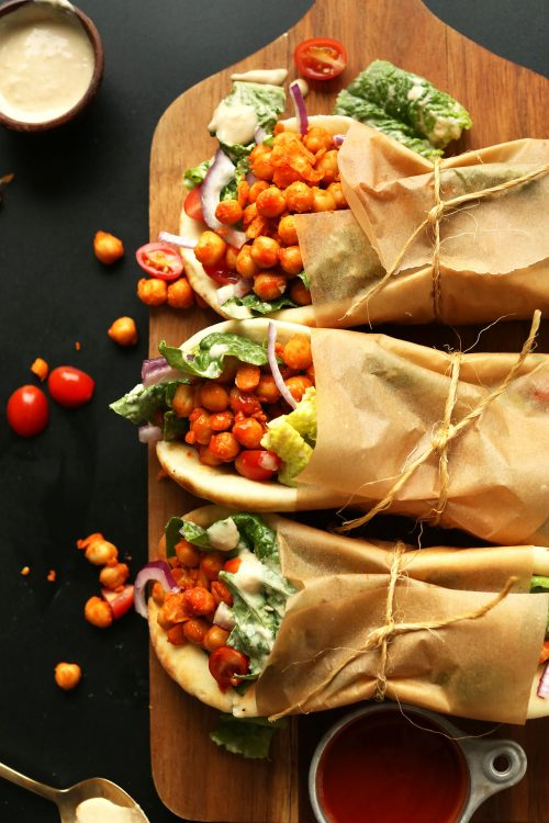 Use these 12 vegan lunch ideas for meetings to liven up your menus spicy buffalo chickpea wraps from minimalist baker vegan lunch ideas for meetings forumfinder Images