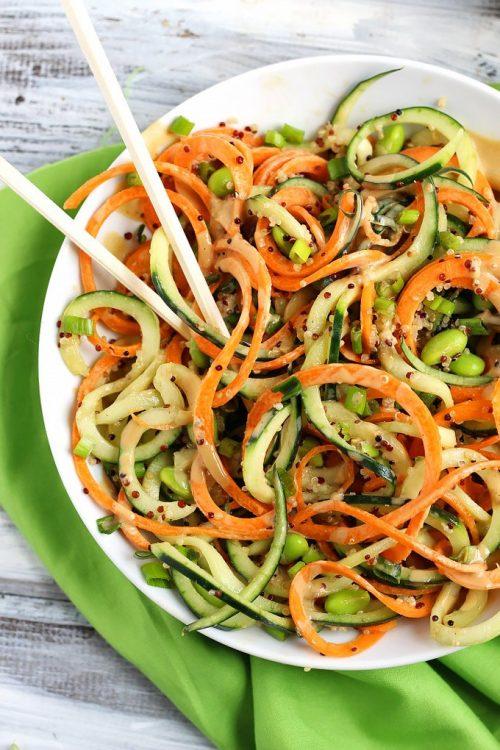 Vegan Spiralized Asian Quinoa Salad Peanut Dressing Emilie Eats | vegan lunch ideas for meetings