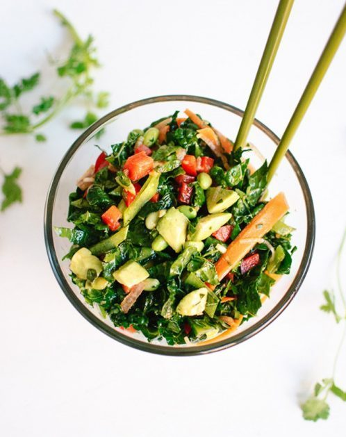 Chopped Kale Salad with Edamame, Carrot and Avocado from Cookie & Kate | vegan lunch ideas for meetings