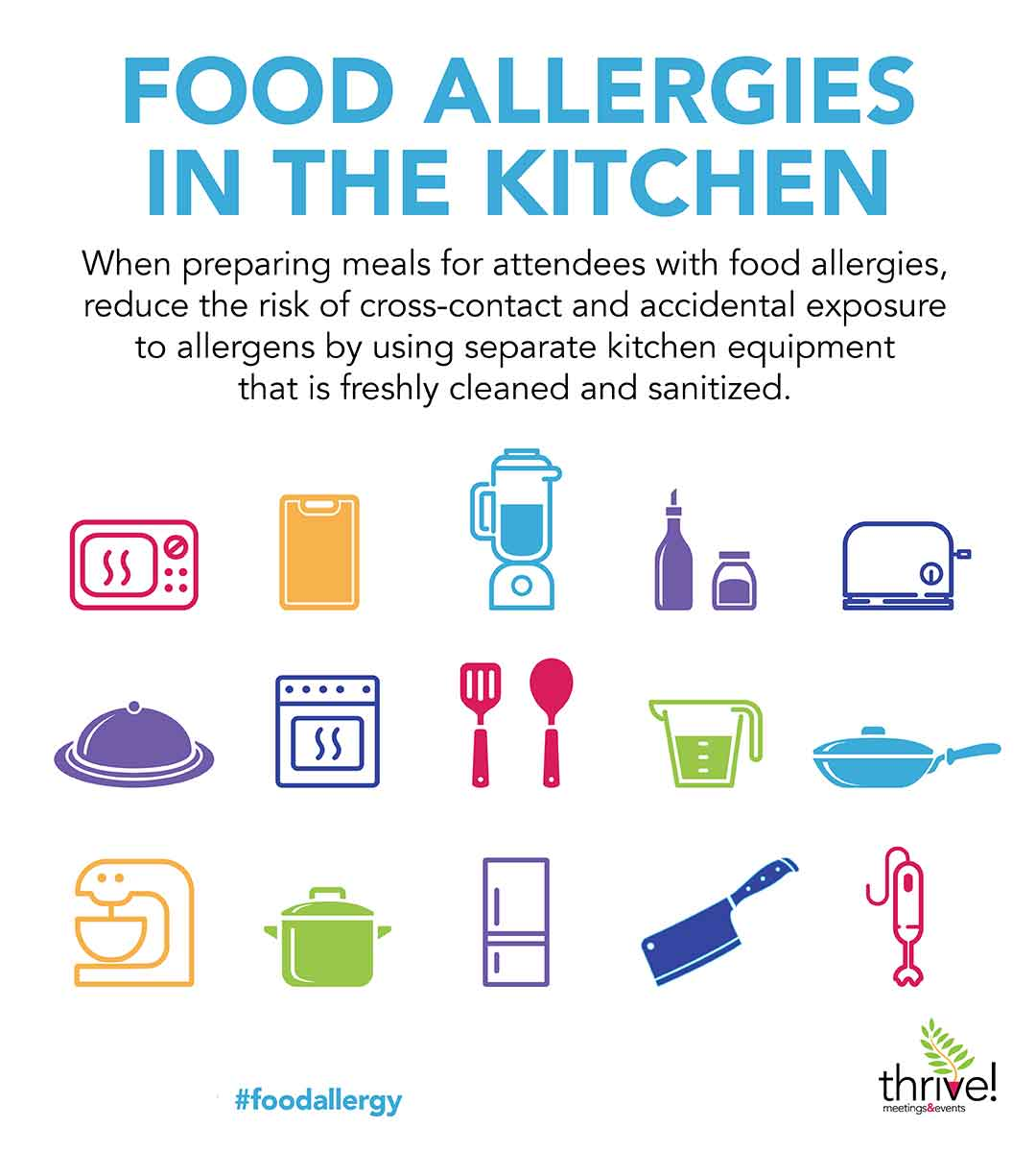 Infographic Food Allergies in the Kitchen describing and showing tools as icon that need to be considered