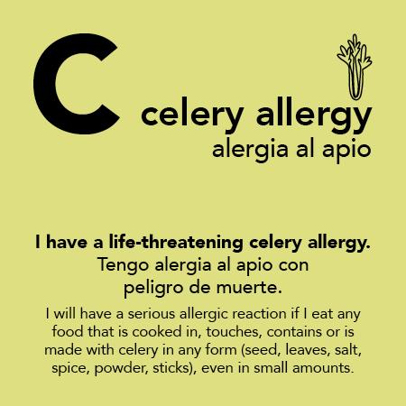 Celery Allergy Meal Cards