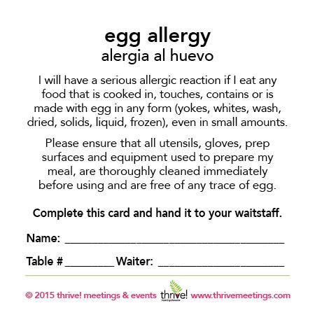 Egg Allergy Meal Cards