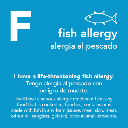 Fish Allergy Meal Cards