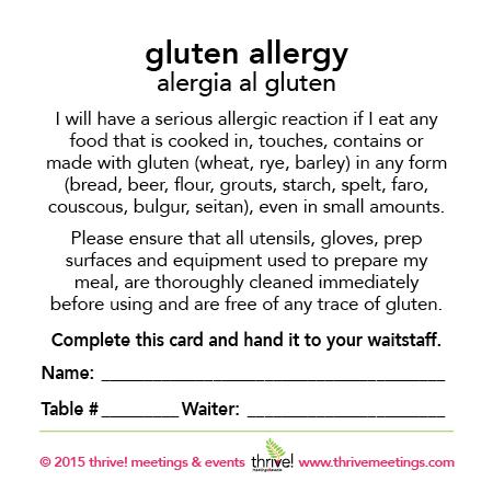 Gluten Allergy Meal Cards