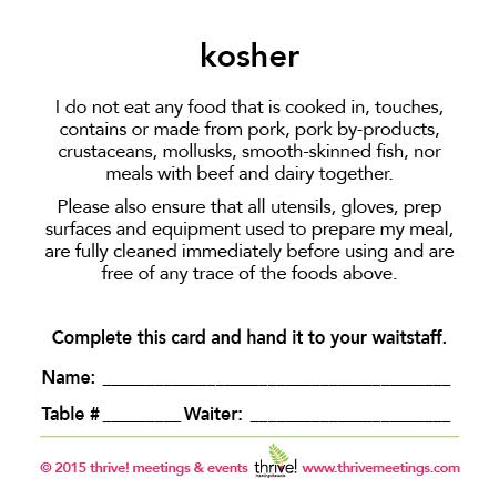 Kosher Meal Cards