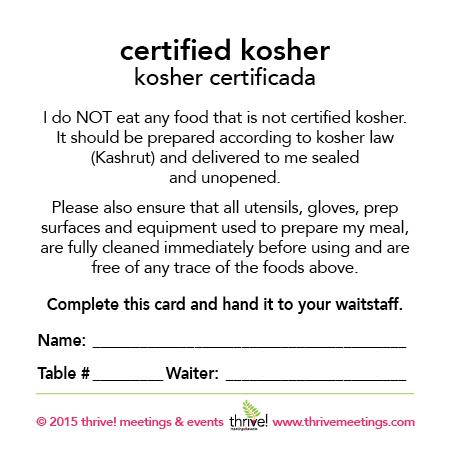 Kosher Certified Meal Cards