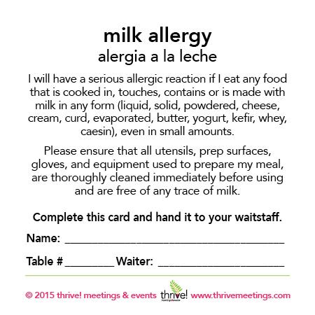 Milk Allergy Meal Cards