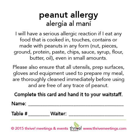 Peanut Allergy Meal Cards