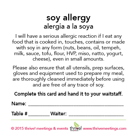 Soy Allergy Meal Cards