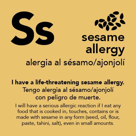 Sesame Allergy Meal Cards