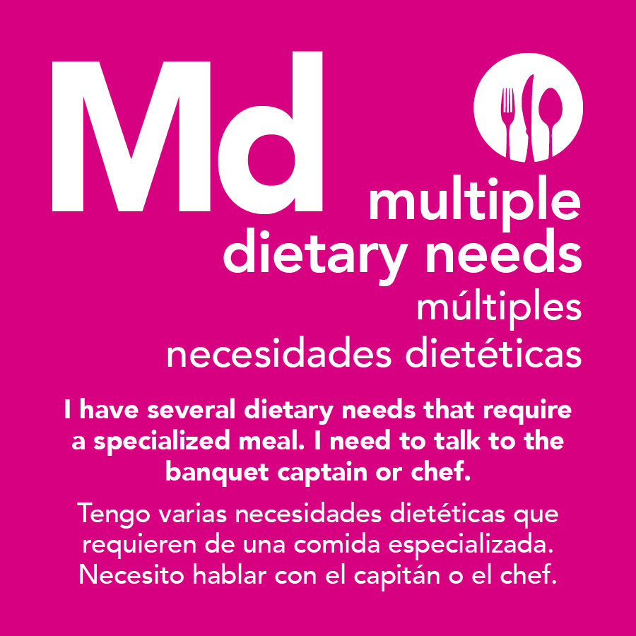 Multiple Dietary Needs Meal Card
