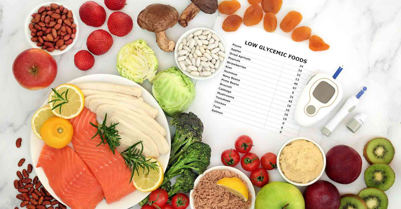 Low GI diet food with blood sugar testing equipment diabetes type 1