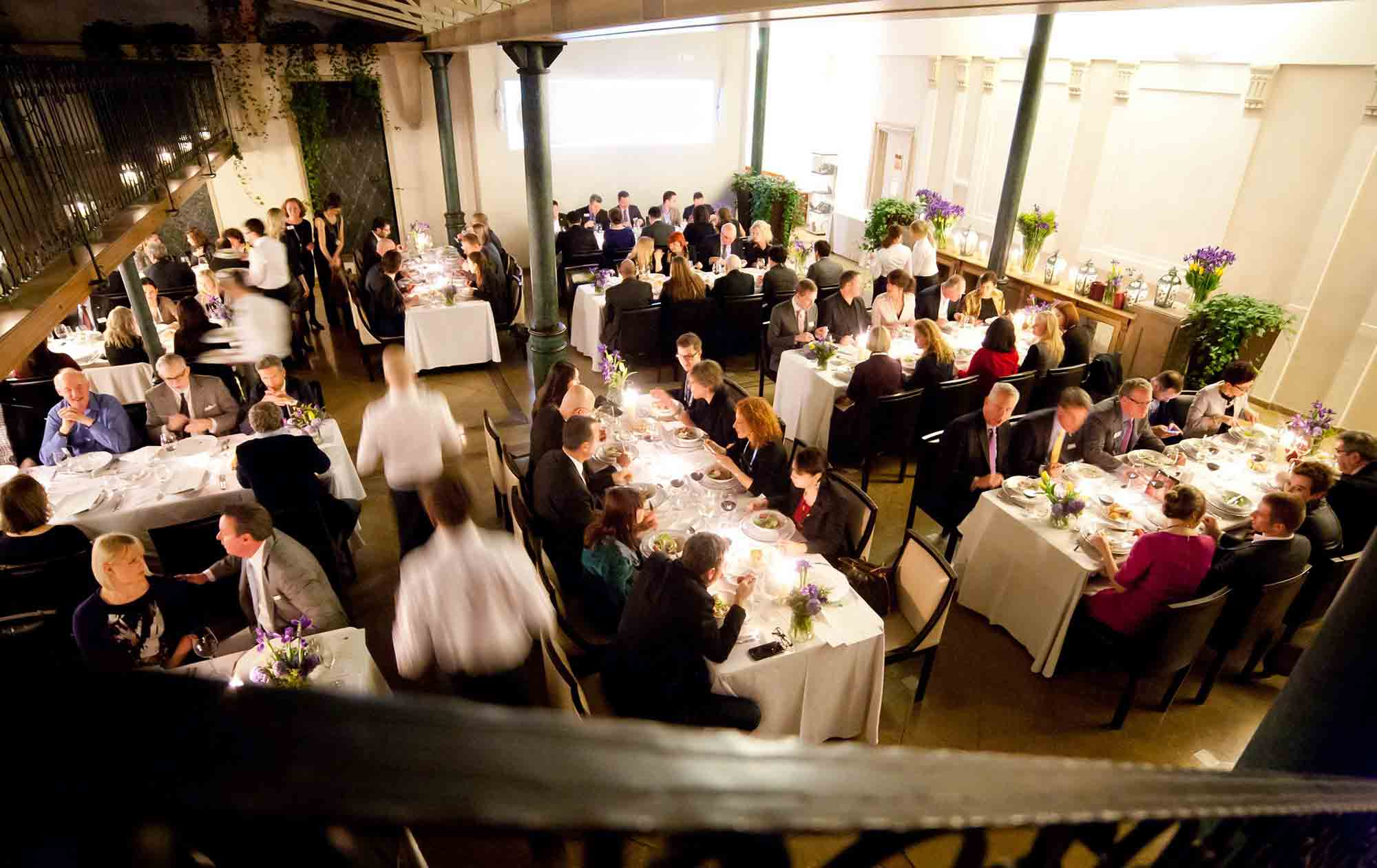 Business people eating dinner at private event special diets