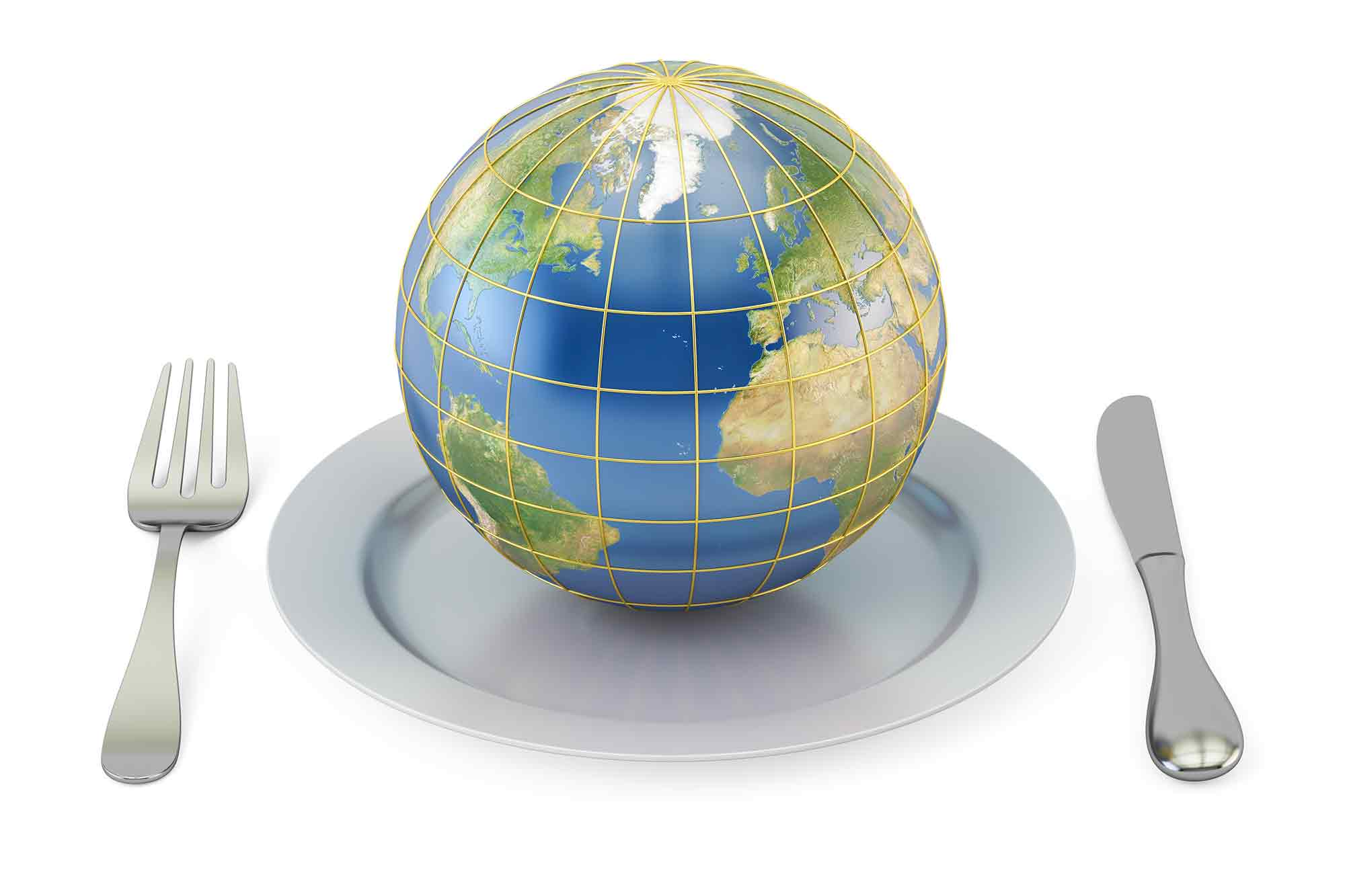 Globe on a plate with a fork and knife on either side Gastrodiplomacy