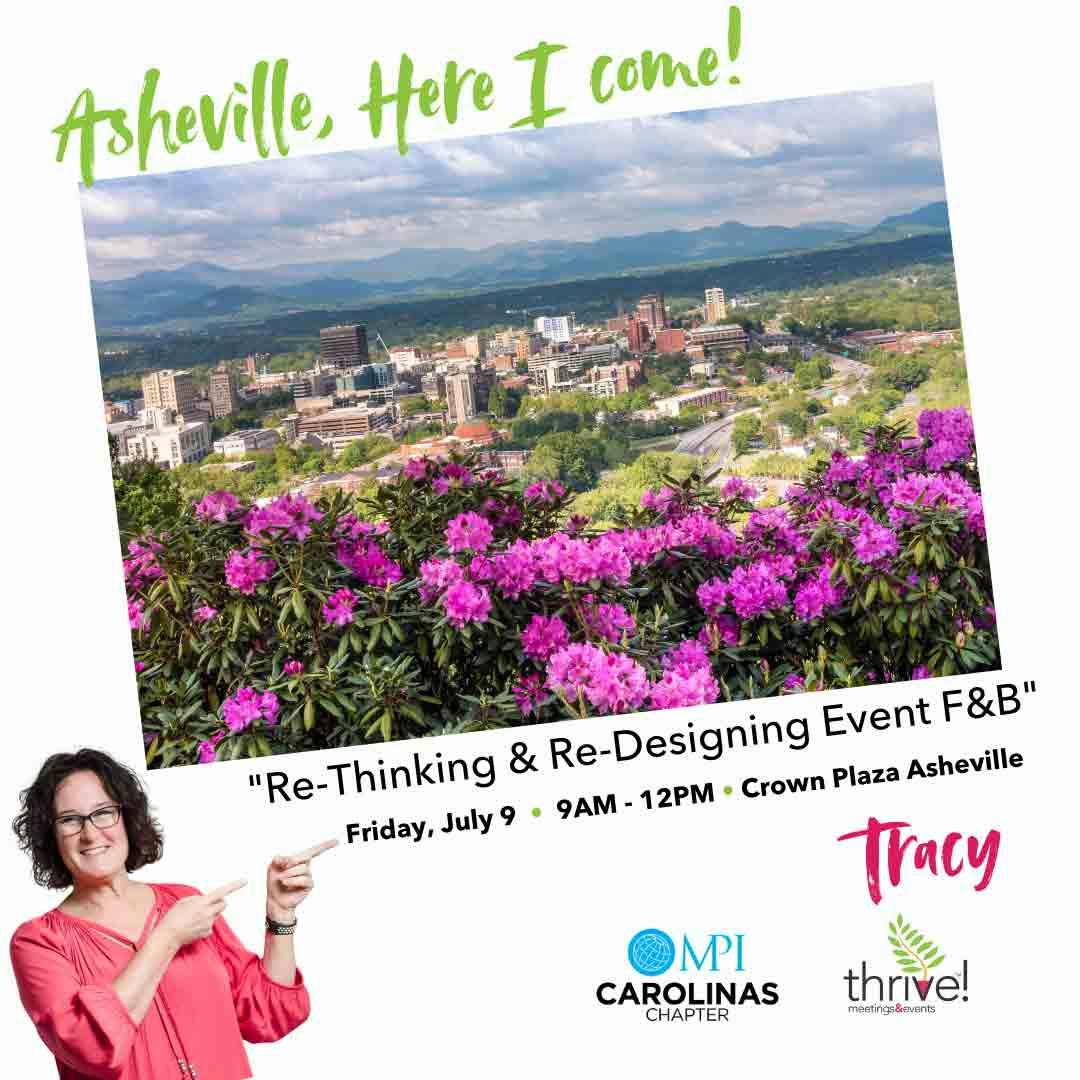 image of Asheville NC promoting Tracy Stuckrath speaking for MPI Carolinas on Friday, July 9