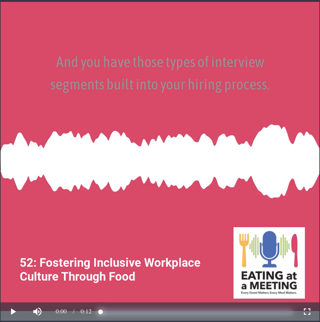 Pink background with white audio line across it promoting a podcast snipit from the Eating at a Meeting podcast