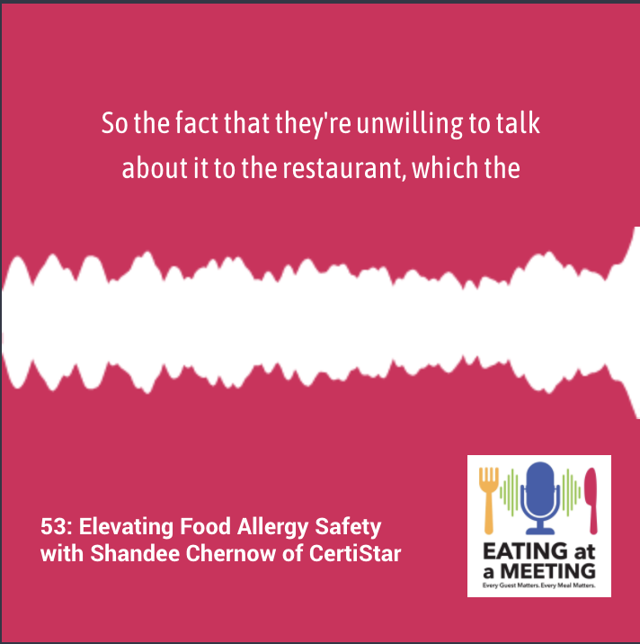 Pink background with white audio line across it promoting a podcast snippet from the Eating at a Meeting podcast