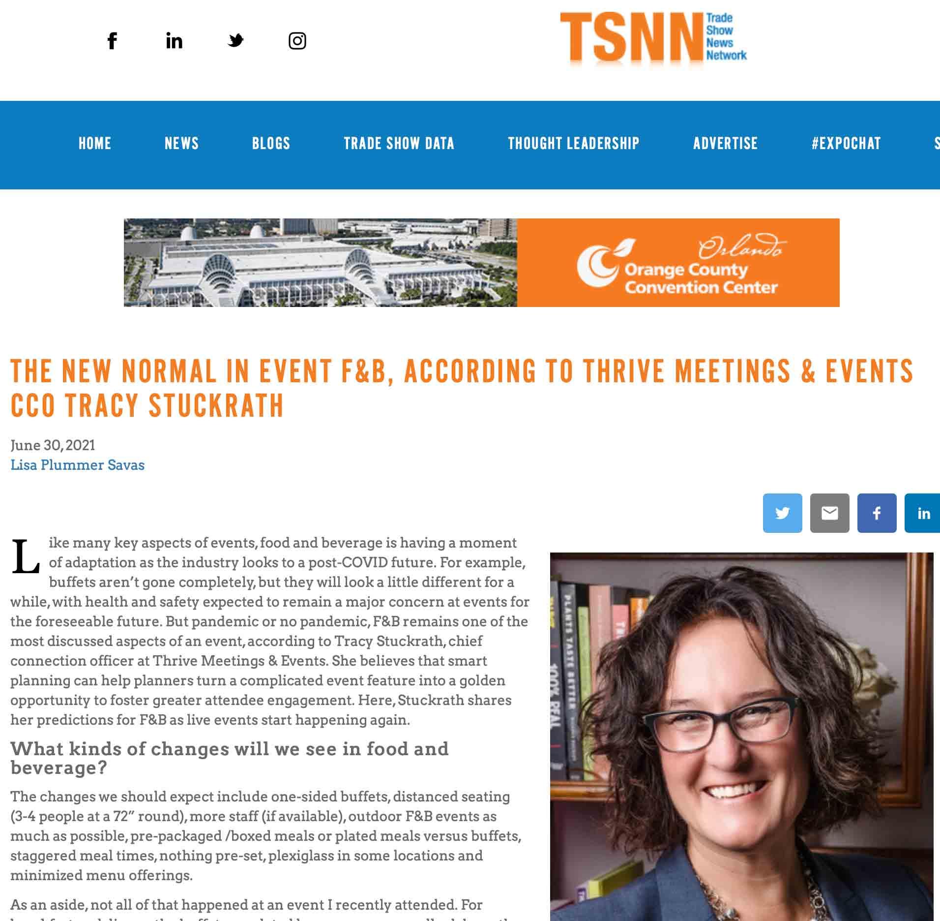 Magazine Headline clip from TSNN with image of Tracy Stuckrath