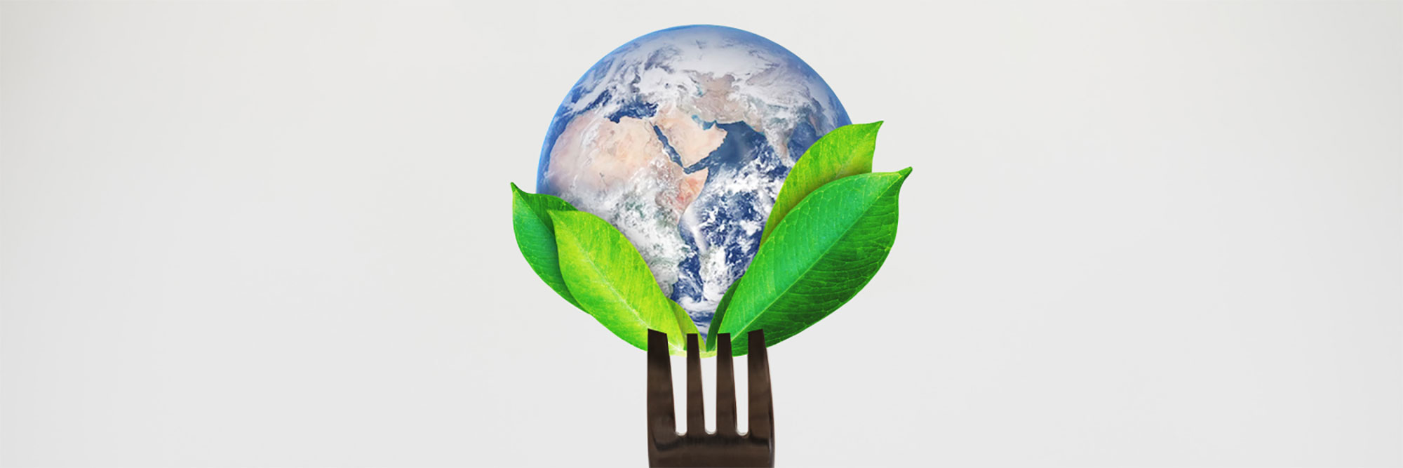 Globe on the tines of a fork with some green leaves Earth Day 2021